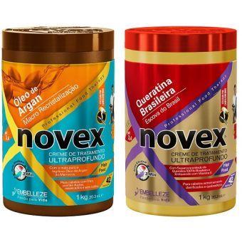 Combo Novex Tratamiento Aceite de Argán+Tratamiento Queratina Brasilera