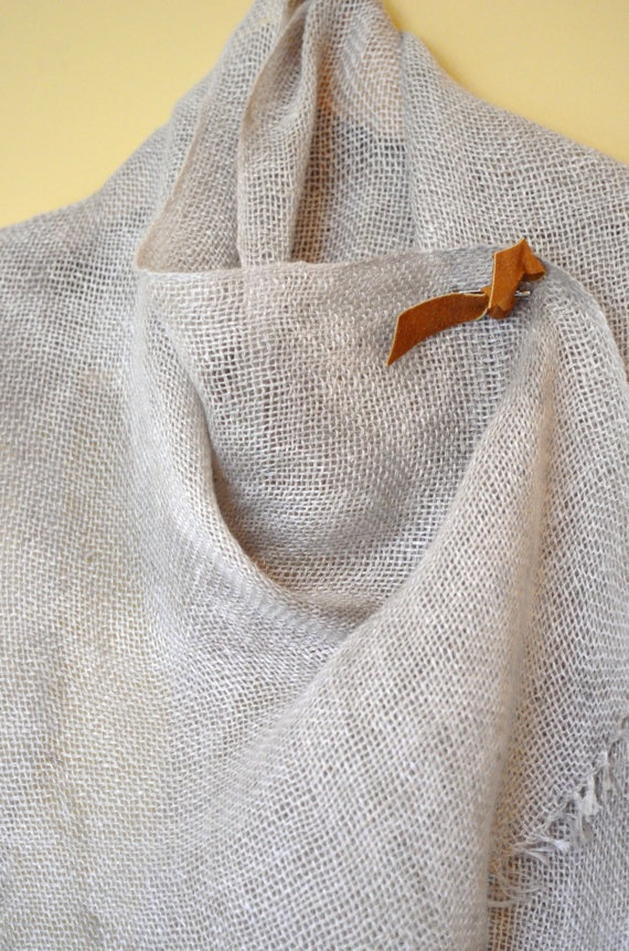 Grey Woven Linen Scarf with Leather Pin
