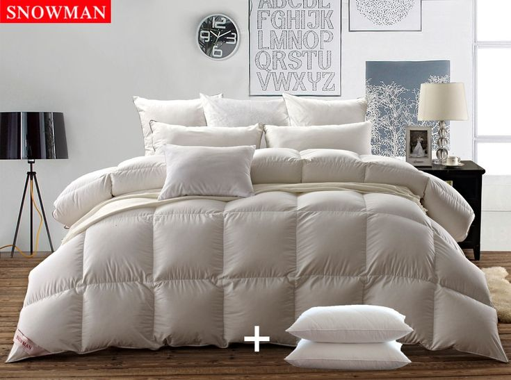 Comforter SNOWMAN Natural White goose down duvet Bedding Super Fluffy 100% Egyptian Cotton,QUEEN, with TWO GOOSE FEATHER PILLOWS