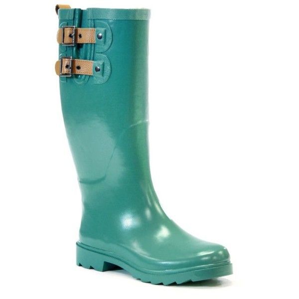 Chooka  Top Solid Rainboot ($70) ❤ liked on Polyvore featuring shoes, green, wellies shoes, rubber rain boots, green rubber boots, fleece-lined shoes and lined rubber boots