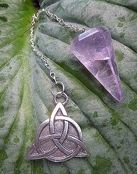 Magick Ritual Sacred Tools:  Pendulum with Celtic Triquetra.
