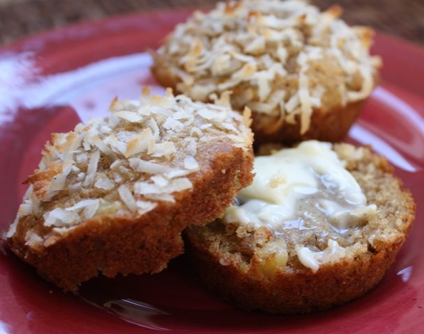 Hawaiian Muffins with Pineapple, Bananas and Coconut recipe by Barefeet In The Kitchen