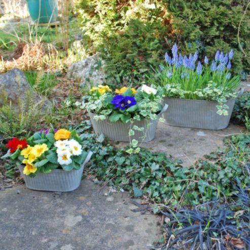 buy set of three vintage look metal bucket trough garden. Black Bedroom Furniture Sets. Home Design Ideas