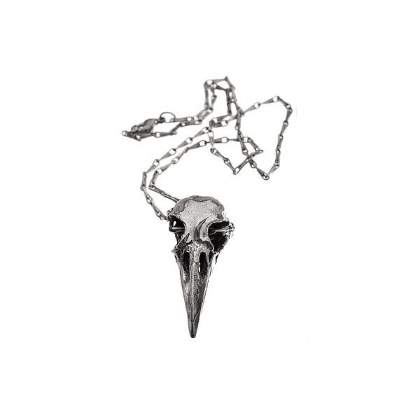 Crow Skull Silver Necklace ($97) ❤ liked on Polyvore featuring jewelry, necklaces, accessories, women, gothic necklace, goth necklace, silver jewelry, skull jewelry and bird necklace