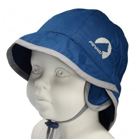 "Sun hat with ear flaps, UV-protection, ""Paju"" blue denim/storm, Finkid"