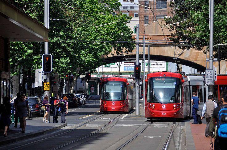 Sydney Light Rail - LRV2112  and LRV2116  in Hay Street.