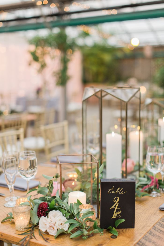 Geometric Candle Holders Wooden Table Number Signage On This Elegant Reception Table Image Wedding Candles Table Wedding Table Wedding Floral Centerpieces