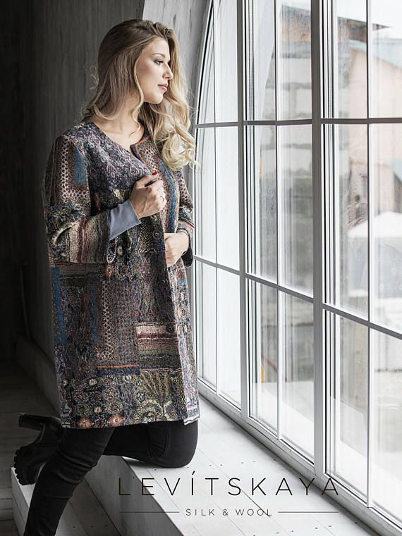 Elegant Patchwork - Hand felted Stylish Womens Coat, Fashionable Lightweight Designers Garment, Christmas gift, OOAK, ready for shipping. Treat yourself to the absolutely gorgeous stylish hand felted lightweight and elegant patchwork woolen coat! Size US 8-12. This increadibly