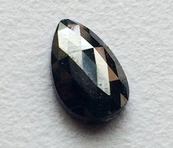 Black Rose Cut Diamond Sparkling Black Pear Rose by gemsforjewels