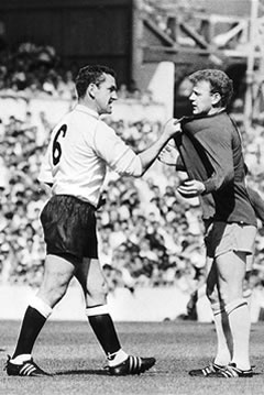 Dave Mackay and Billy Bremner - a minor disagreement, settled by two of the game's gentler fellows. Nothing to see.