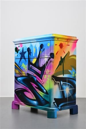 19th century chest of drawers with graffiti by Bates.
