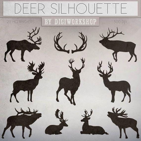 """Deers clipart """"Silhouettes of Deer"""" clip art contains dark and light silhouettes of deers, christmas deer"""