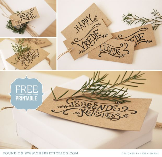 Free Download Christmas Tags. Design: Seven Swans