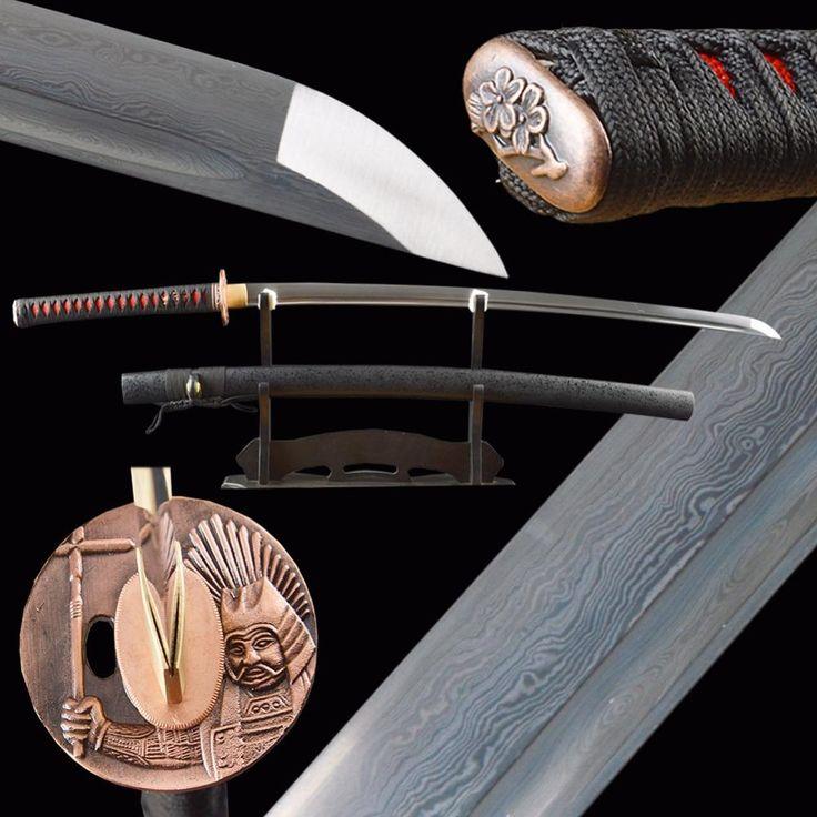 Vintage Metal Home Decor Damascus Sword Folded Steel Real Japanese Samurai Katana Handmade Delicate Sharp Martial Arts Supplies