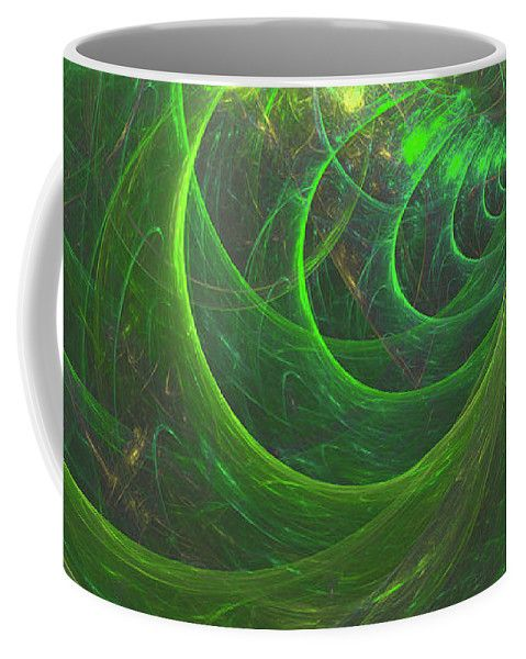 Mariia Kalinichenko Coffee Mug featuring the digital art Juicy Greens by Mariia Kalinichenko #MariiaKalinichenkoFineArtPhotography #Mug #FineArtPrint #AbstractArt #GreenFractal