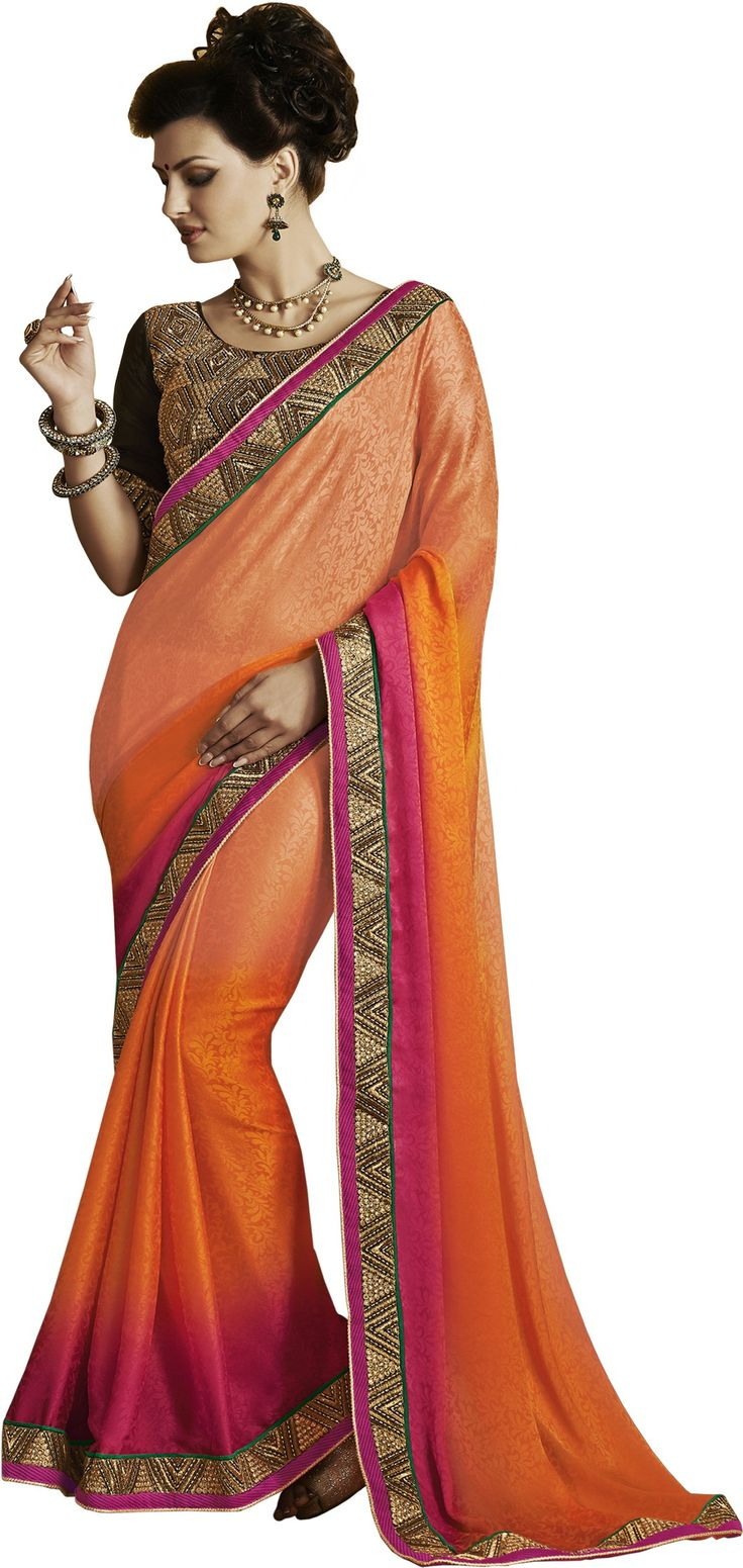 #Fashion #Sari #Jacquard #Saree #Orange