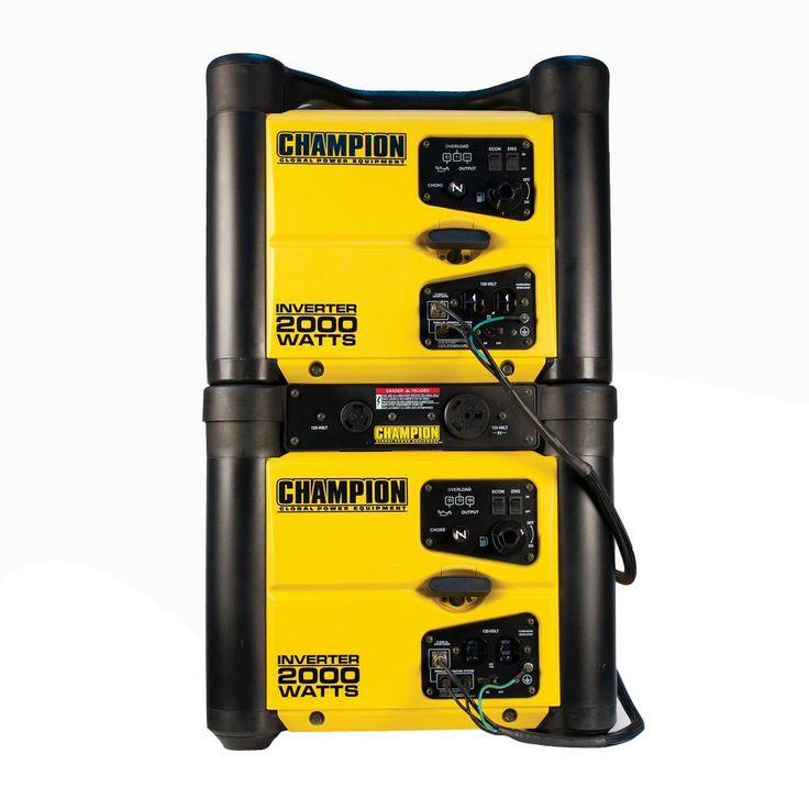Champion Power Equipment Twin 2 000 Watt Recoil Start Gasoline Powered Portable Inverter Generators With Parallel Operation Kit 73536k The Home Depot Portable Inverter Generator Inverter Generators Inverter Generator