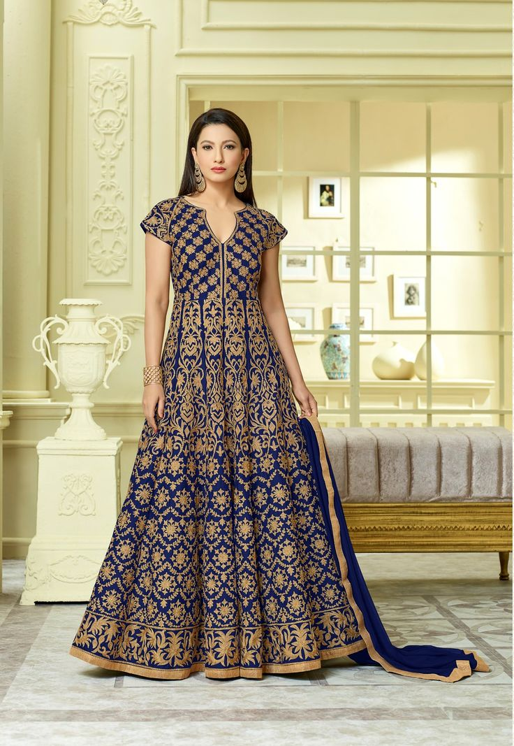 Gauhar Khan Royal Blue Taffeta Silk Long Anarkali Salwar Suit After placed order you should submit Measurement Here