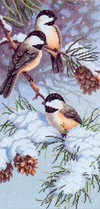 Скачать Синички и сосновые шишки бесплатно. А также другие схемы вышивок в разделах: , Dimensions, Зима, Птицы