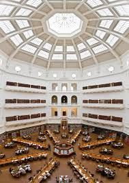 """Yes yes I have pinned the State Library before but this beautiful room deserves its own pin. Standing in there looking up is such a thrill.  In the centre of the room is the old research librarian """"throne"""". I can see how that would make you feel all powerful and I would love to get in and look at the room from that perspective."""