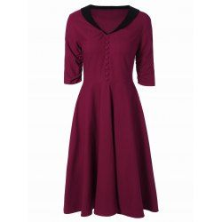 SHARE & Get it FREE   Vintage Button Embellished Contrast DressFor Fashion Lovers only:80,000+ Items • New Arrivals Daily Join Rosewholesale: Get YOUR $50 NOW!