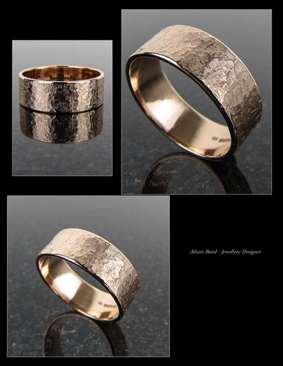 9ct Rose gold 'raw silk' textured ring