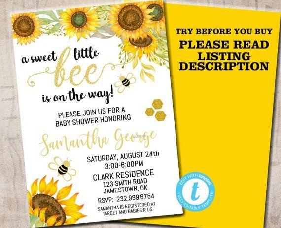 Bee Baby Shower Invitation, bumble bee baby shower, bumblebee gender neutral baby shower, sunflower