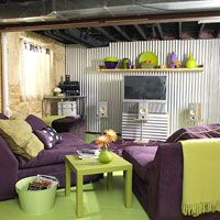 How to Decorate Your Basement on a Budget  Fun and affordable, this daylight basement combines both factory and funky items to create a perfect place for playing and lounging    http://livingincharlottesville.wordpress.com/2010/11/10/decorating-your-basement-on-a-budget/