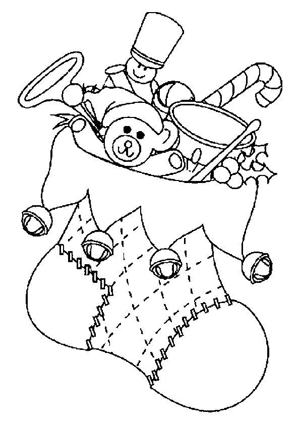 Coloriage / dessin botte de Noël remplie de cadeaux