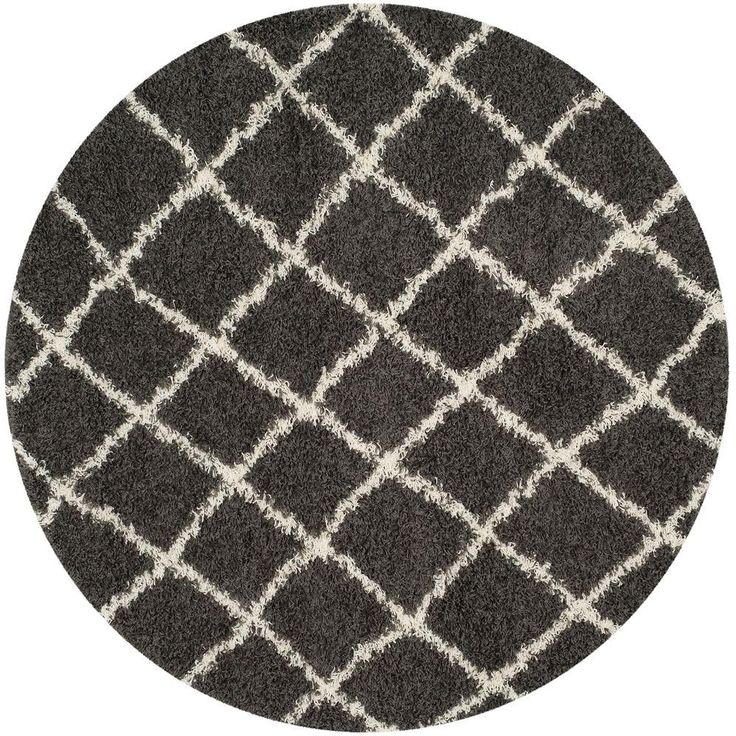 Safavieh Dallas Shag Dark Gray Ivory 6 Ft X 6 Ft Round