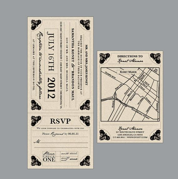 Vintage Antique Edwardian Victorian Train Ticket Rustic Wedding Invitation set and address labels