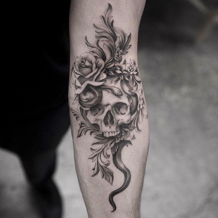 Snake & skull tattoo by @maxim.nyc