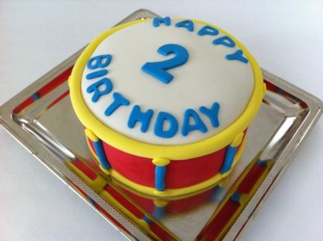 Drum birthday cake...would add drum sticks.