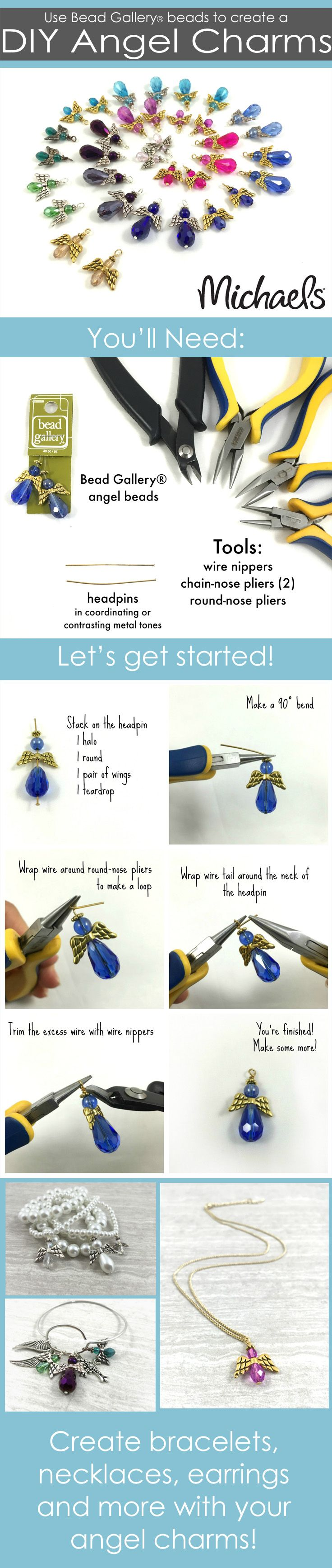 Create these easy DIY Angel Charms following the steps to make bracelets, earrings, necklaces and more.