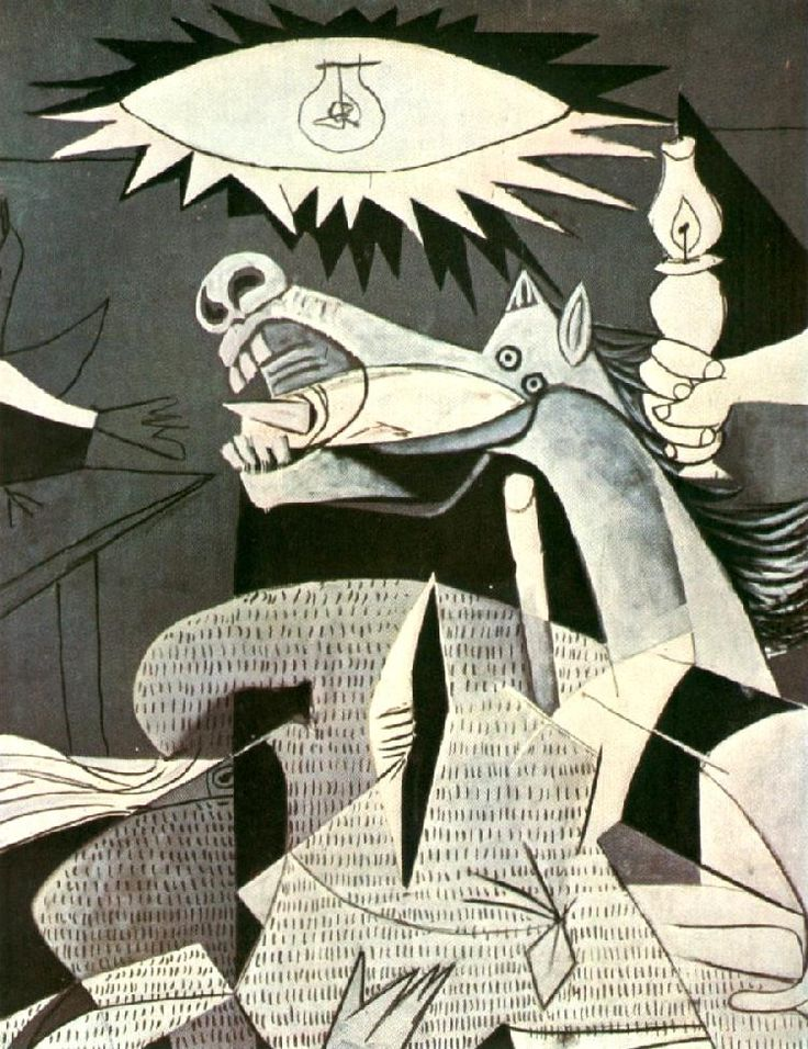 Guernica detail. Dora Maar painted the stripes as she was taking pictures while picasso was working.