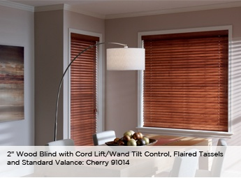 wood blinds with a streamlined valance gives this dining room a modern elegance made from ecofriendly north american hardwood