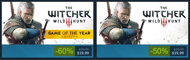 The price for The Witcher 3 and the 'GOTY' edition are the same.
