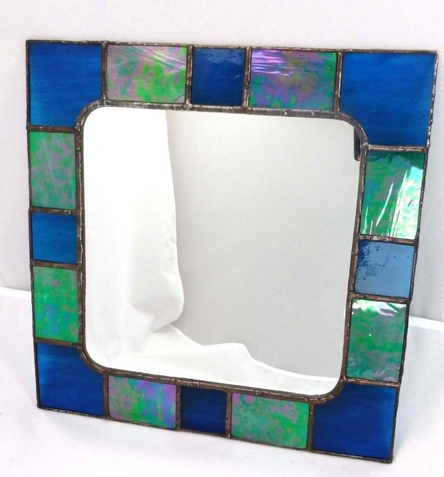 Stained Glass Mirror with Cobalt Blue and Green frame  £40.00