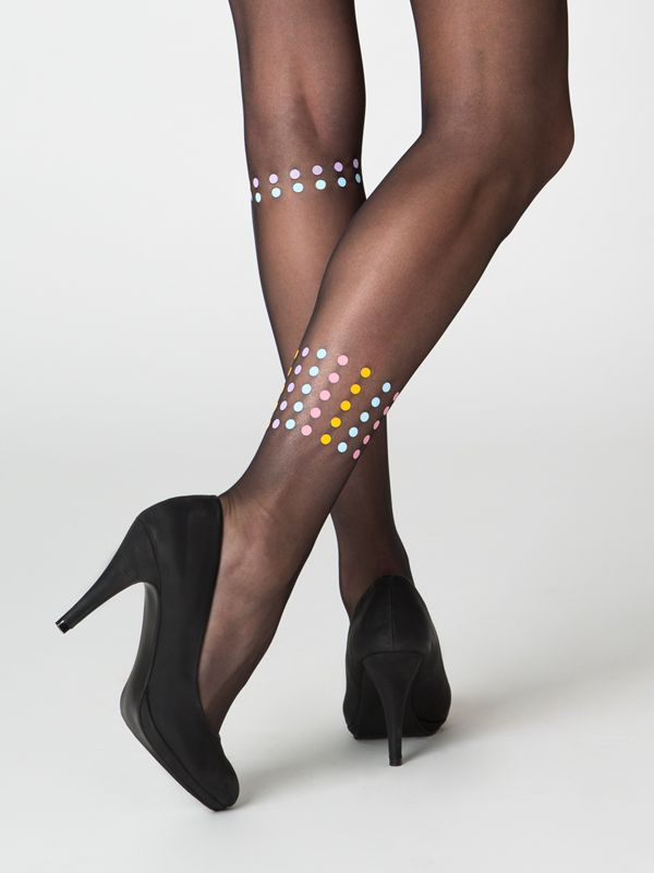 Dublin black tights - Virivee Tights. 20 denier black sheer tights in S-XL sizes.  Unique designer tights!