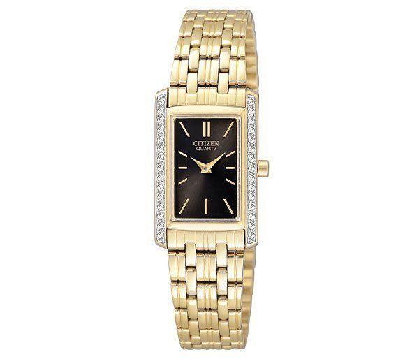 Ladies Citizen Quartz Black Dial Gold Tone Stainless Swarovski Watch EK1122-50E #Citizen