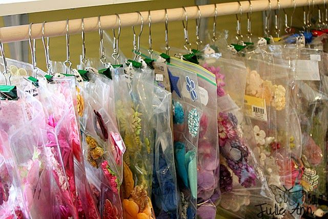 organizational idea for a variety of items.  Shower curtain ring, binder clip and a ziplock bag.