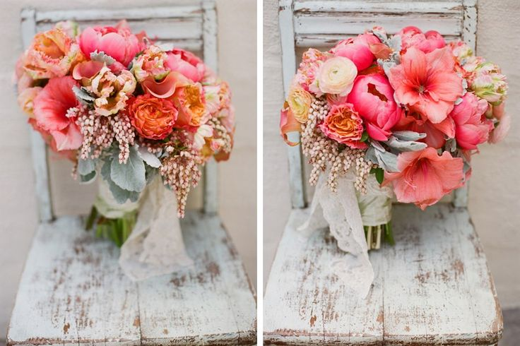 bright coral peony and amaryllis bridal bouquet