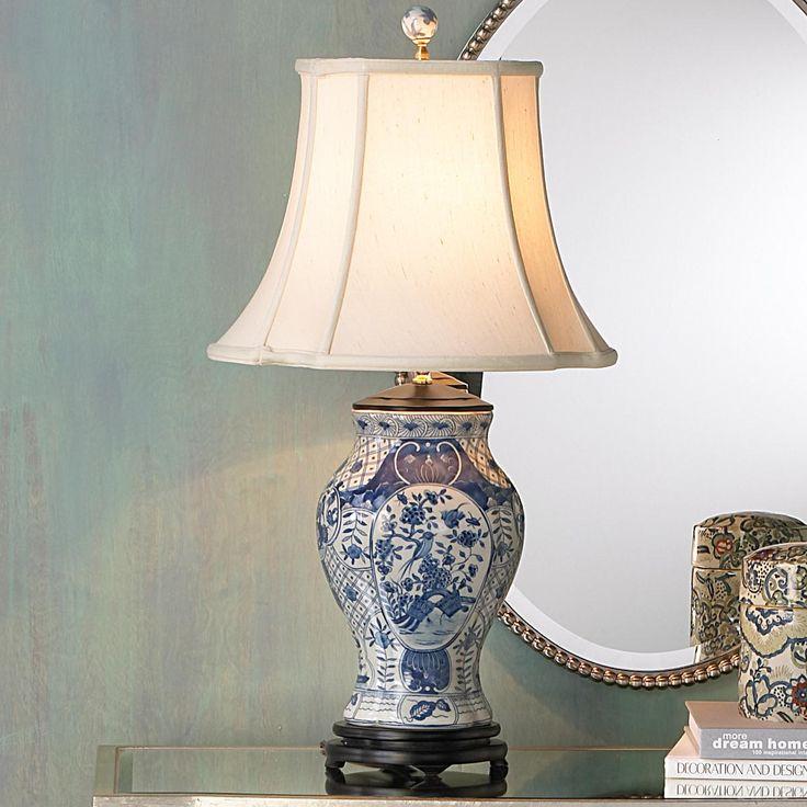 Classic blue and white porcelain vase lamp
