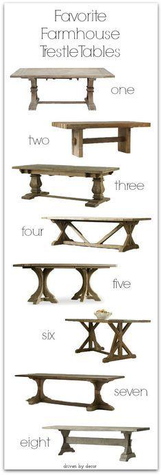 Favorite farmhouse pedestal and trestle tables