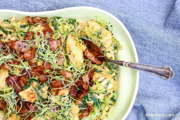LCHF Kylling, bacon, spidskål i parmesanfløde
