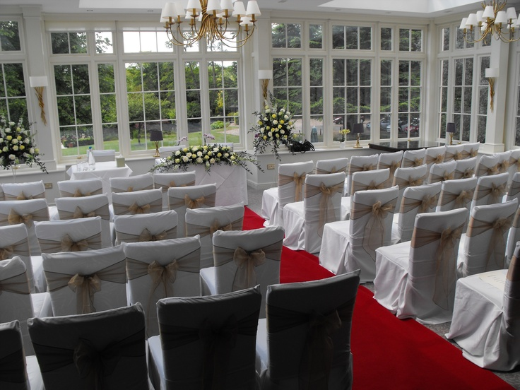 Gold Organza Bows on White Chair Covers