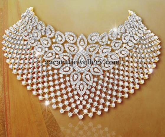 Jewellery Designs: Sparkling Diamond Chokers by Shobha