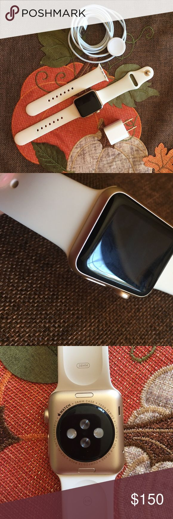 Apple Watch Series 1 EUC Apple Watch series 1 EUC reset to factory settings and unlocked there is a minor scuff pictured in the second pic but it's not very noticeable price reflects it's Gold with antique white band 38mm I don't have the original box  only worn a hand full of times I thought I would use it more my loss your gain! 😉 Apple Accessories Watches