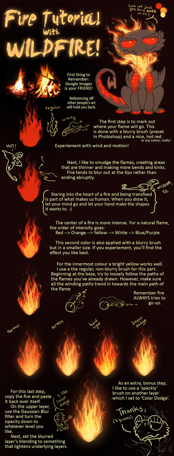Fire Tutorial with Wildfire by FlightyFelon how to instructions | NOT OUR ART - Please click artwork for source | WRITING INSPIRATION for Dungeons and Dragons DND Pathfinder PFRPG Warhammer 40k Star Wars Shadowrun Call of Cthulhu and other d20 roleplaying fantasy science fiction scifi horror location equipment monster character game design | Create your own RPG Books w/ www.rpgbard.com