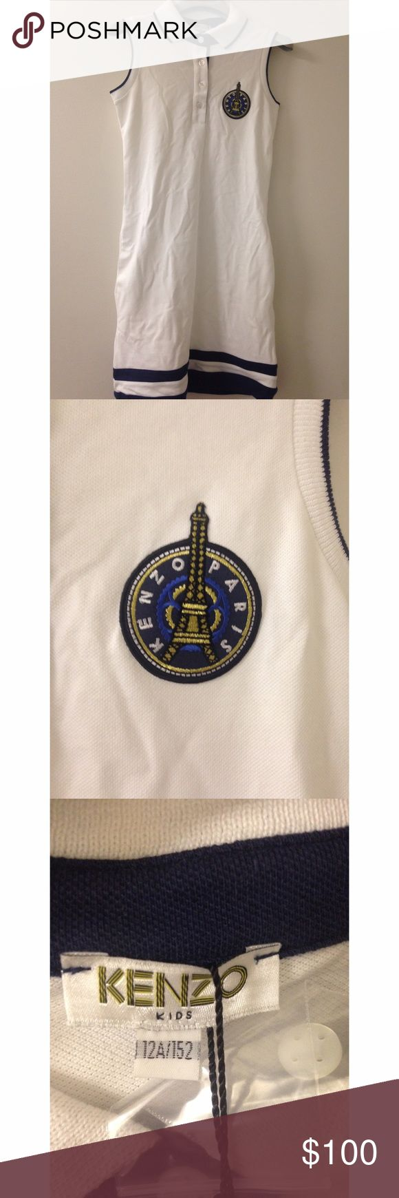 Kenzo Kids White Eiffel Tower Badge Polo Dress Brand New w/ Tags - 100% Authentic    - 95% Cotton and 5% Elastane - Machine washable 30 degrees  🚫I will not respond to anyone asking me to email me regarding my items. I will report and block you 🚫  ✨Make an offer✨ Kenzo Dresses Casual